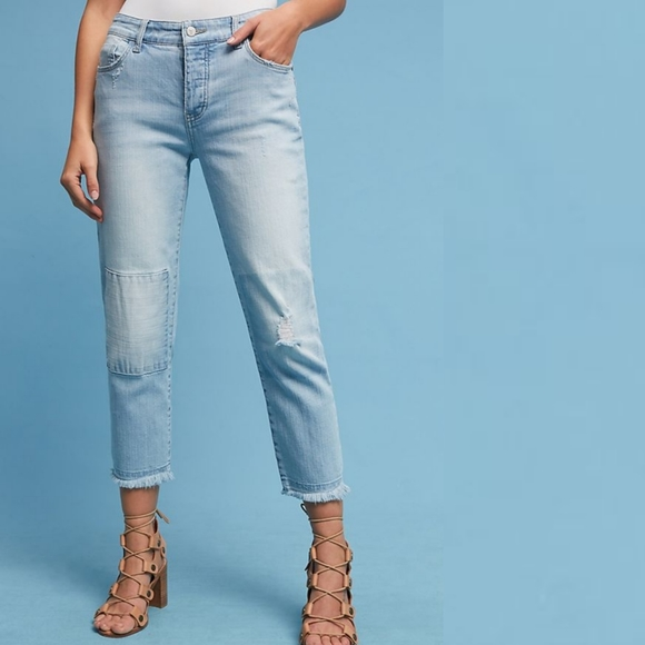 Anthropologie midrise raw hem crop jeans